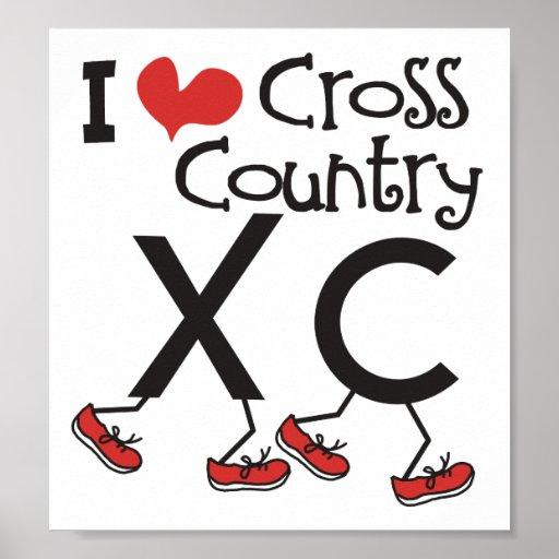 I heart (love) Cross Country Running XC Poster