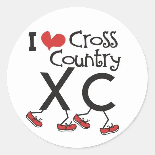I heart (love) Cross Country Running XC Stickers