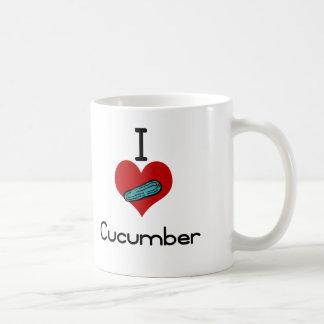 I heart-love cucumber classic white coffee mug