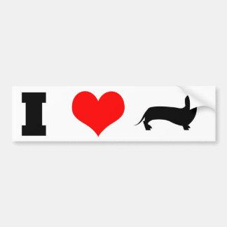 I Heart (love) Dachshunds Bumper Sticker