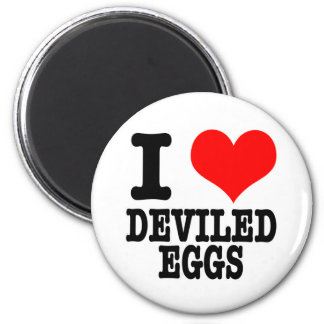 I HEART (LOVE) DEVILED EGGS 2 INCH ROUND MAGNET
