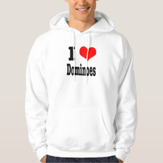 I HEART (LOVE) dominoes Hooded Pullover