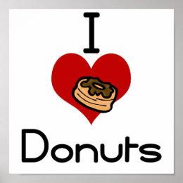 I heart-love donut poster