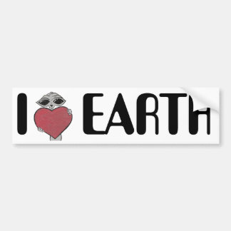I Heart Love Earth Alien Bumper Sticker