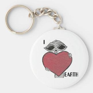 I Heart Love Earth Alien Key Chain