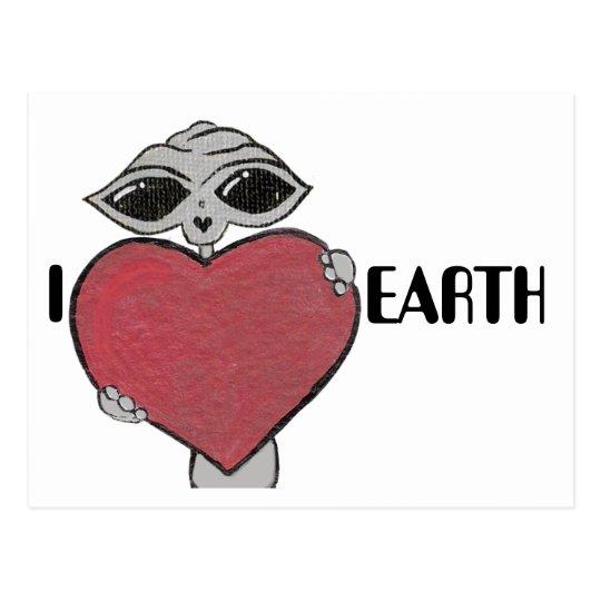 I Heart Love Earth Alien Postcard