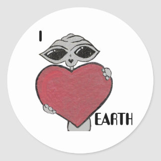 I Heart Love Earth Alien Sticker