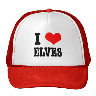 I HEART (LOVE) ELVES TRUCKER HAT