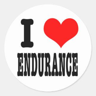 I HEART (LOVE) ENDURANCE CLASSIC ROUND STICKER