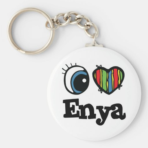 I  Heart (Love) Enya Basic Round Button Keychain