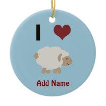 I heart (love) Ewe (you) Ceramic Ornament
