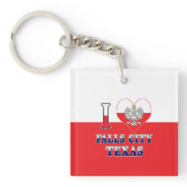 I Heart Love Falls City Texas Keychain
