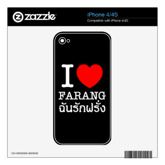 I Heart (Love) Farang Decal For iPhone 4