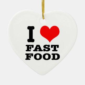 I HEART (LOVE) fast food Ceramic Ornament