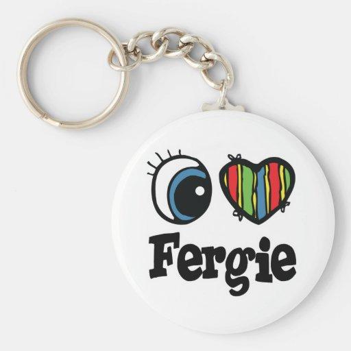 I  Heart (Love) Fergie Basic Round Button Keychain