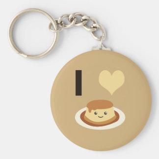 I Heart (love) flan! Keychain