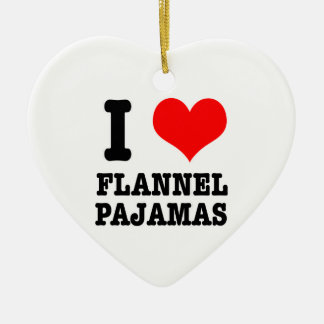 I HEART (LOVE) flannel pajamas Double-Sided Heart Ceramic Christmas Ornament