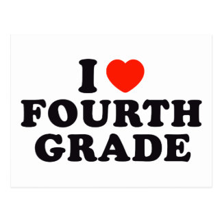 I Heart / Love Fourth Grade Postcard