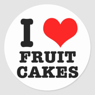 I HEART (LOVE) fruit cakes Classic Round Sticker