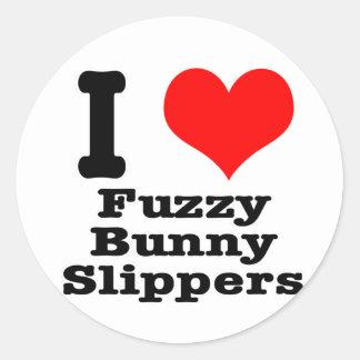 I HEART (LOVE) fuzzy bunny slippers Classic Round Sticker