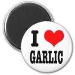 I HEART (LOVE) GARLIC 2 INCH ROUND MAGNET