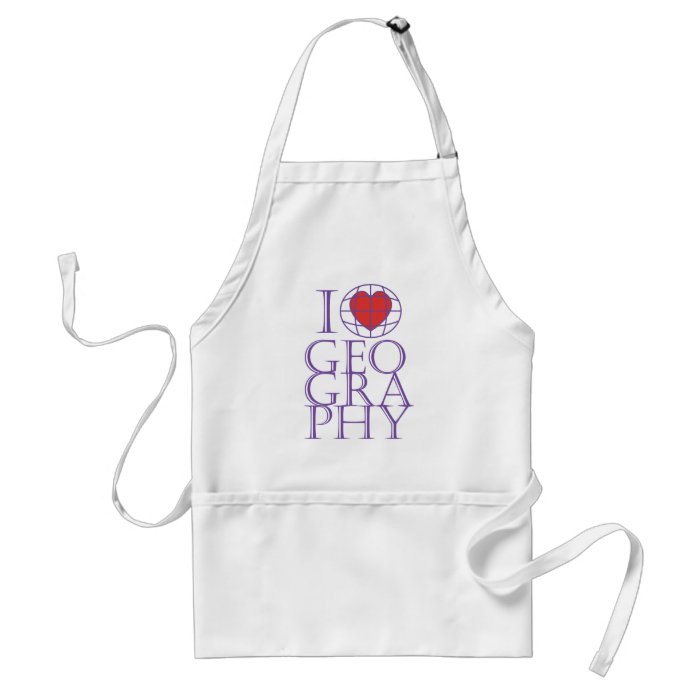 I heart (love) Geography Adult Apron