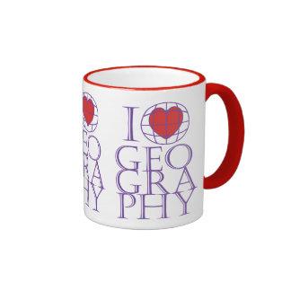 I heart (love) Geography Ringer Coffee Mug