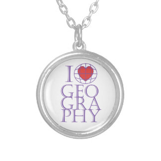 I heart (love) Geography Round Pendant Necklace