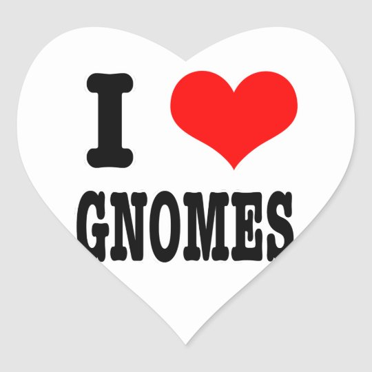 I HEART (LOVE) gnomes Heart Sticker