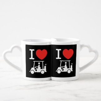 I Heart (Love) Golf Cart Coffee Mug Set