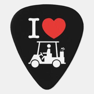 I Heart (Love) Golf Cart Guitar Pick