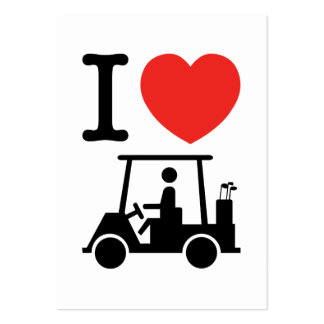 I Heart (Love) Golf Cart Large Business Cards (Pack Of 100)