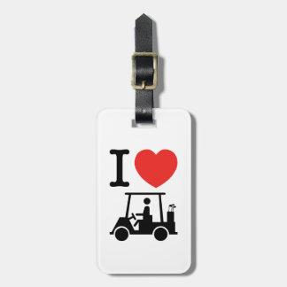 I Heart (Love) Golf Cart Luggage Tag