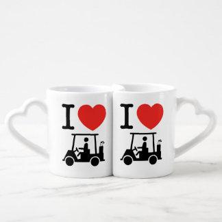 I Heart (Love) Golf Cart Couples' Coffee Mug Set