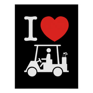 I Heart (Love) Golf Cart Poster