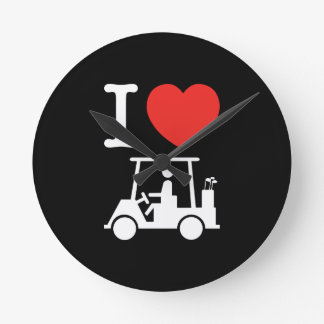 I Heart (Love) Golf Cart Round Clock
