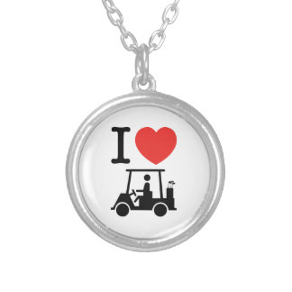 I Heart (Love) Golf Cart Silver Plated Necklace