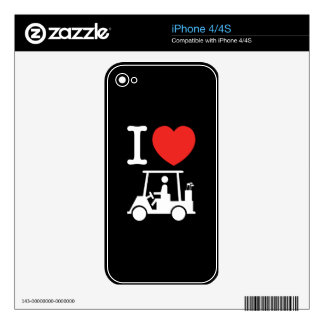 I Heart (Love) Golf Cart Skin For The iPhone 4S