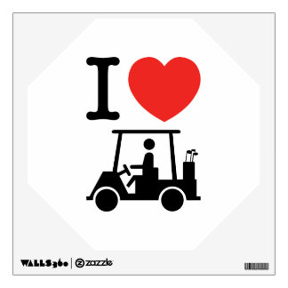 I Heart (Love) Golf Cart Wall Sticker