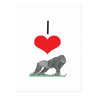 I Heart (Love) Gorillas Postcard