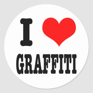 I HEART (LOVE) GRAFFITI CLASSIC ROUND STICKER