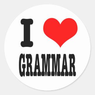 I HEART (LOVE) GRAMMAR CLASSIC ROUND STICKER