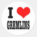 I HEART (LOVE) GREMLINS ROUND STICKERS