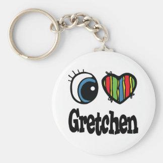 I Heart (Love) Gretchen Basic Round Button Keychain