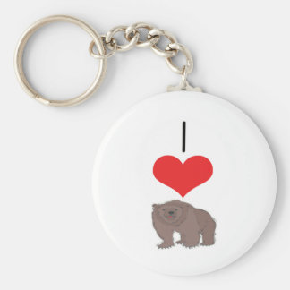 I Heart (Love) Grizzly  Bears  Keychain