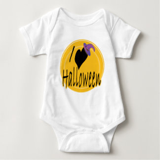 I (heart) love Halloween with Witch's Hat Baby Bodysuit