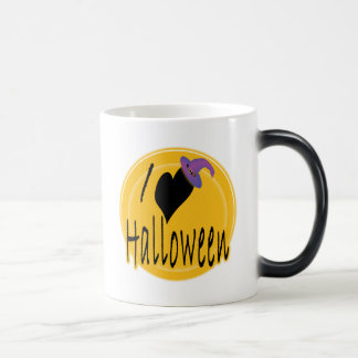 I (heart) love Halloween with Witch's Hat 11 Oz Magic Heat Color-Changing Coffee Mug