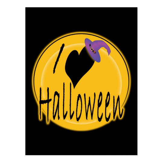 I (heart) love Halloween with Witch's Hat Postcard