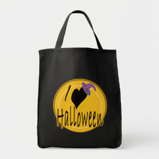I (heart) love Halloween with Witch's Hat Tote Bag