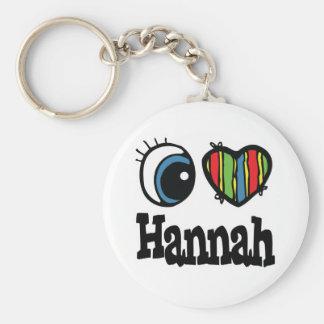 I Heart (Love) Hannah Basic Round Button Keychain